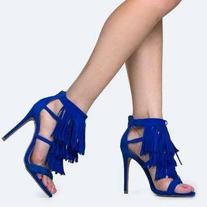 "Steve Madden Fringe Heel Sandals ""Fringly"" 6, 6.5"
